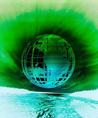 globe over ocean